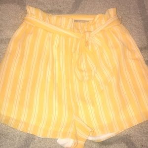 White and yellow stripped shorts